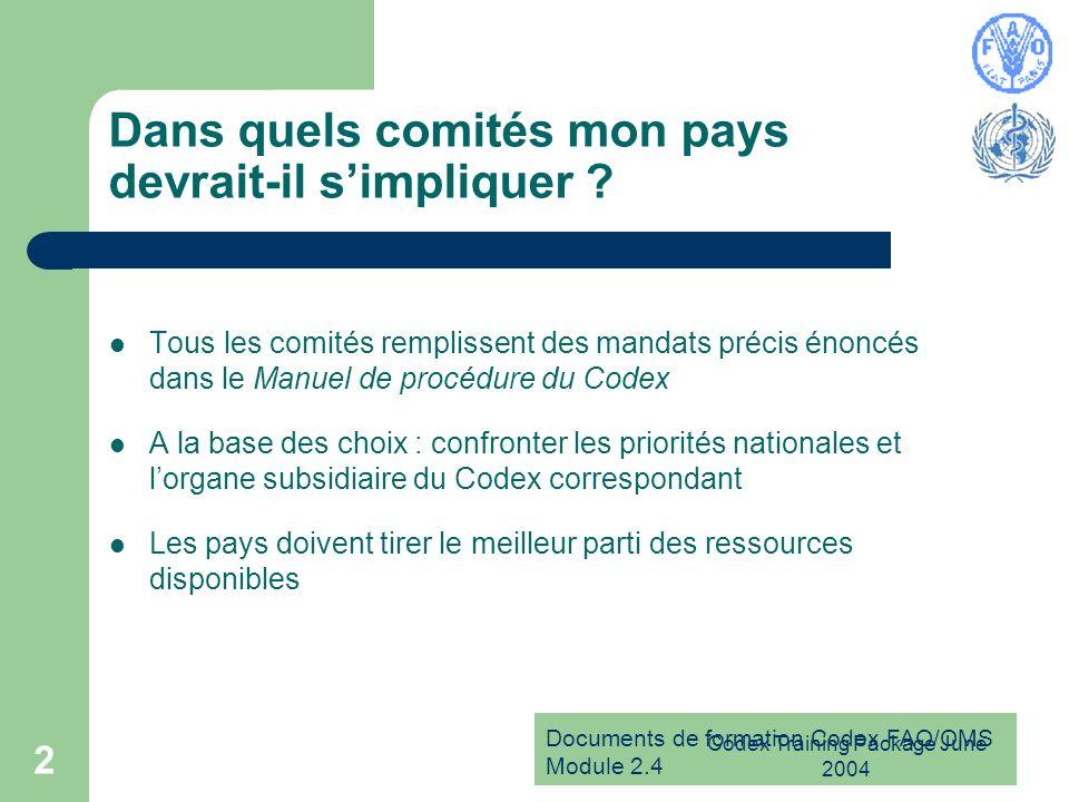 Documents de formation Codex FAO/OMS Module 2.4 Codex Training Package June 2004 2 Dans quels comités mon pays devrait-il simpliquer ? Tous les comité