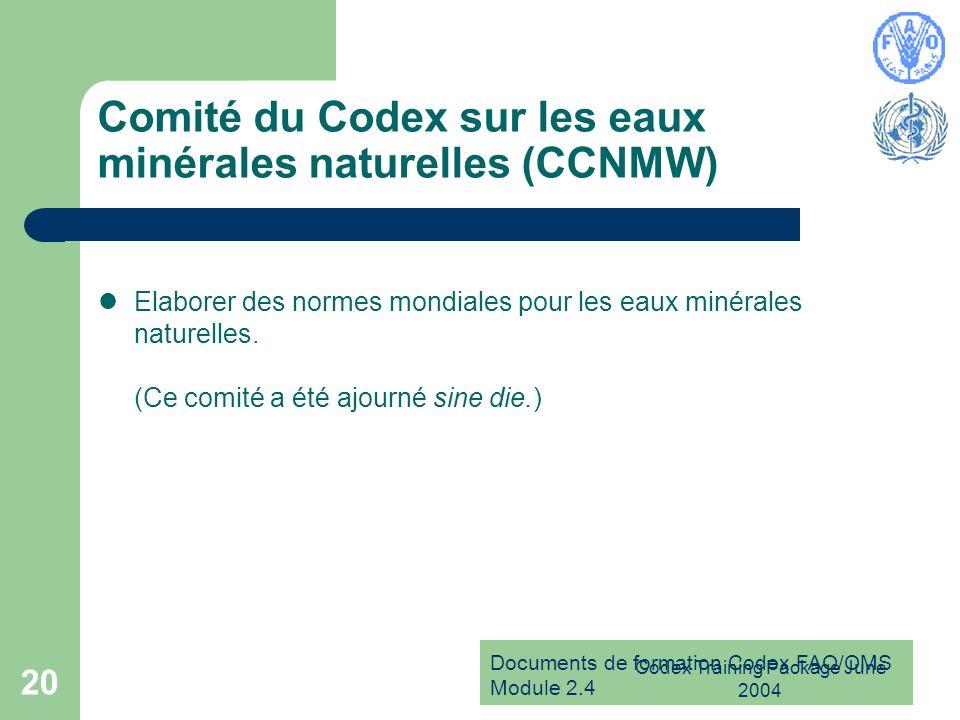 Documents de formation Codex FAO/OMS Module 2.4 Codex Training Package June 2004 20 Comité du Codex sur les eaux minérales naturelles (CCNMW) Elaborer