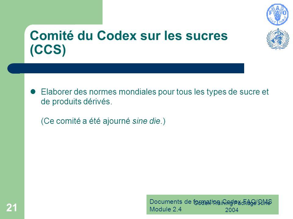 Documents de formation Codex FAO/OMS Module 2.4 Codex Training Package June 2004 21 Comité du Codex sur les sucres (CCS) Elaborer des normes mondiales