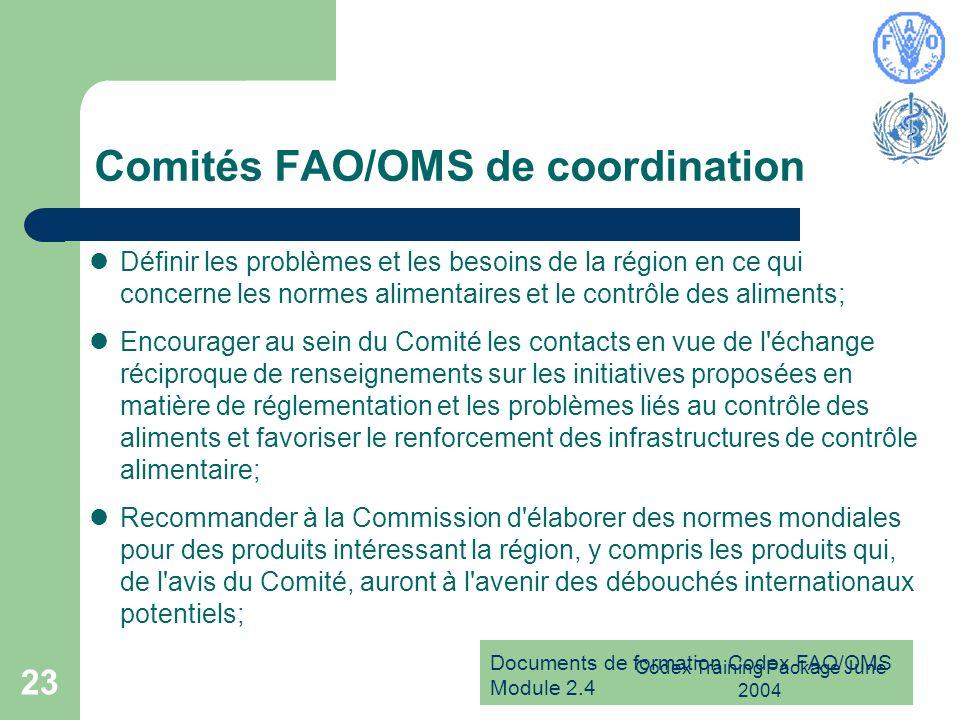Documents de formation Codex FAO/OMS Module 2.4 Codex Training Package June 2004 23 Comités FAO/OMS de coordination Définir les problèmes et les besoi