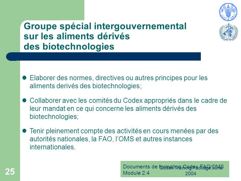 Documents de formation Codex FAO/OMS Module 2.4 Codex Training Package June 2004 25 Groupe spécial intergouvernemental sur les aliments dérivés des bi