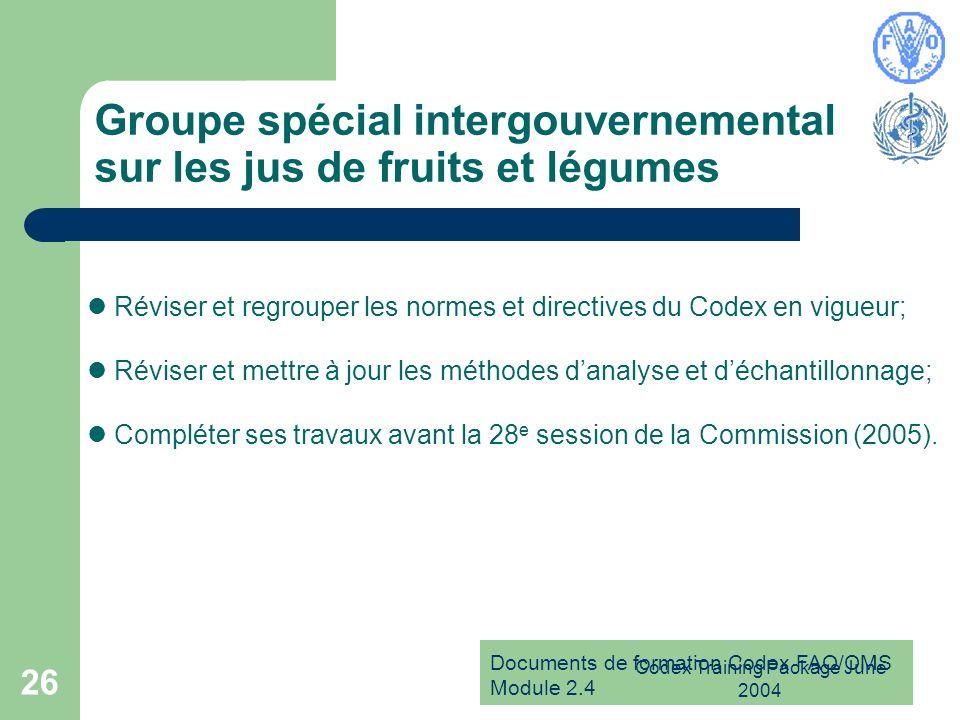 Documents de formation Codex FAO/OMS Module 2.4 Codex Training Package June 2004 26 Groupe spécial intergouvernemental sur les jus de fruits et légume