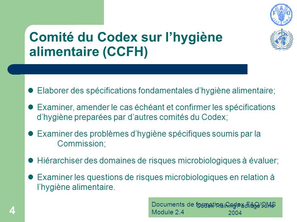 Documents de formation Codex FAO/OMS Module 2.4 Codex Training Package June 2004 4 Comité du Codex sur lhygiène alimentaire (CCFH) Elaborer des spécif