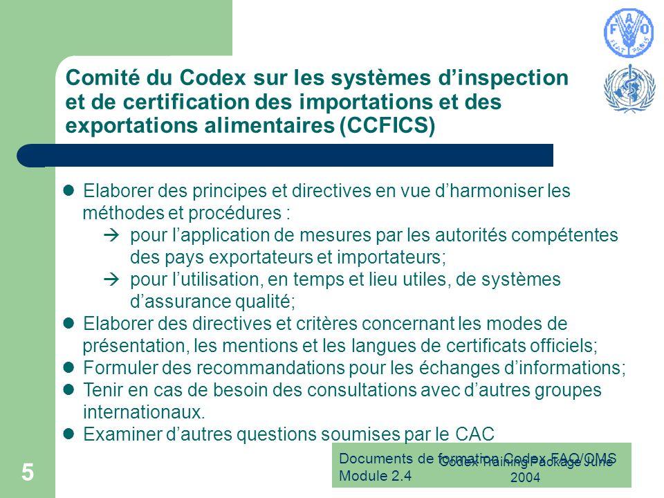 Documents de formation Codex FAO/OMS Module 2.4 Codex Training Package June 2004 5 Comité du Codex sur les systèmes dinspection et de certification de