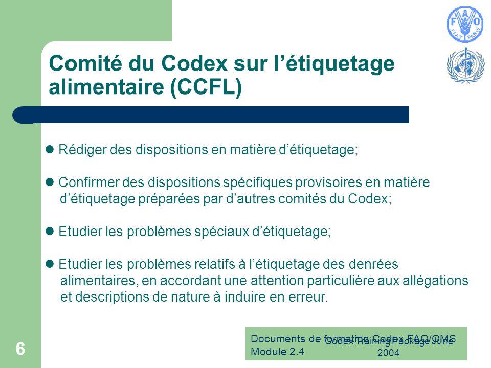Documents de formation Codex FAO/OMS Module 2.4 Codex Training Package June 2004 6 Comité du Codex sur létiquetage alimentaire (CCFL) Rédiger des disp