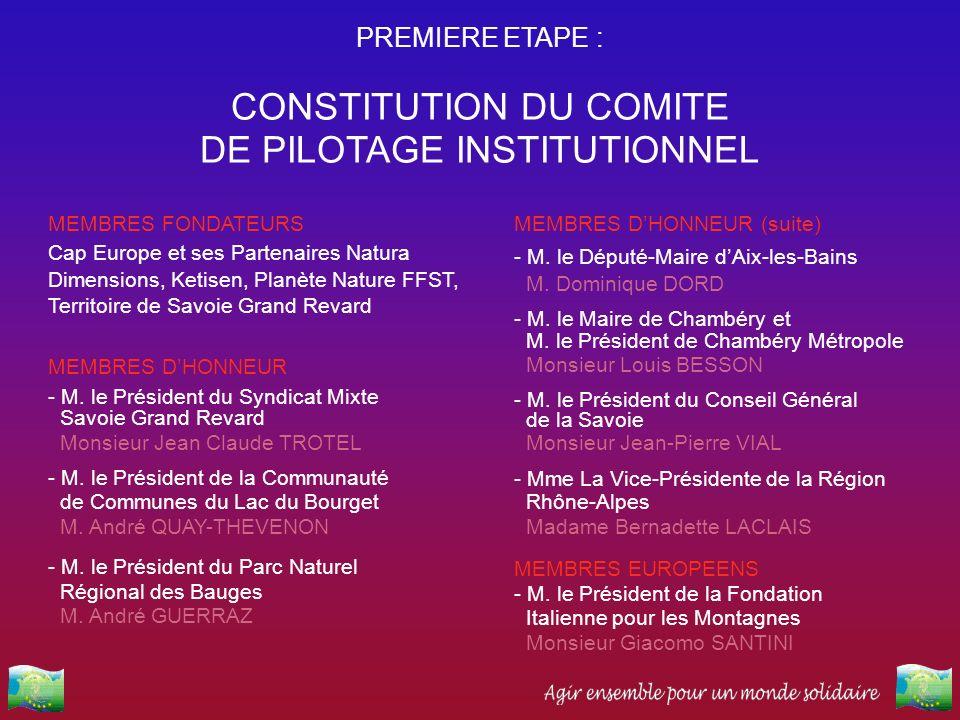 PREMIERE ETAPE : CONSTITUTION DU COMITE DE PILOTAGE INSTITUTIONNEL MEMBRES FONDATEURS Cap Europe et ses Partenaires Natura Dimensions, Ketisen, Planèt