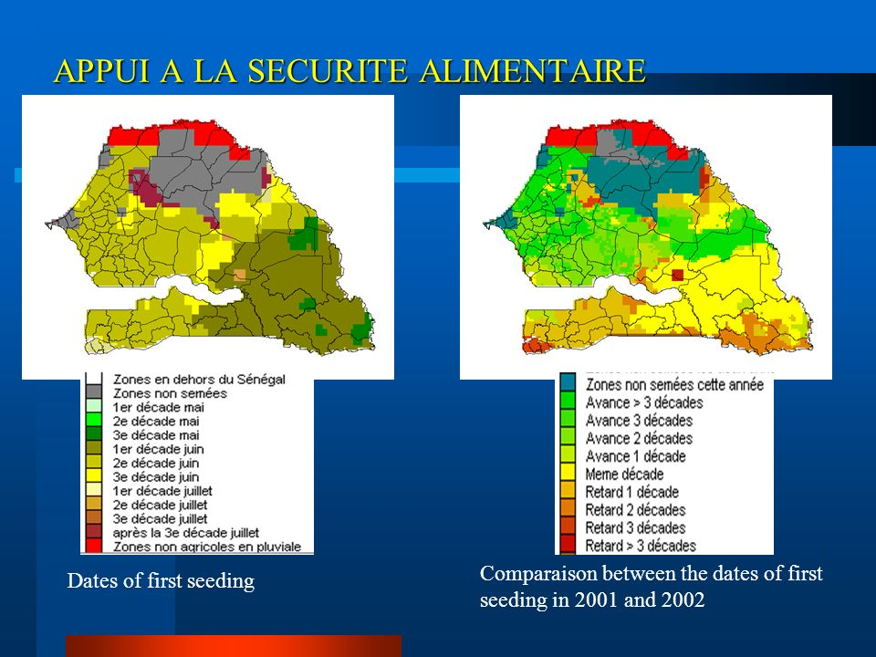 APPUI A LA SECURITE ALIMENTAIRE Dates of first seeding Comparaison between the dates of first seeding in 2001 and 2002