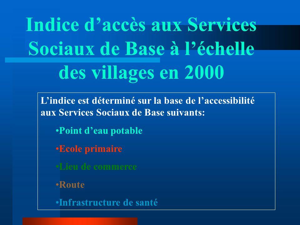 Indice daccès aux Services Sociaux de Base à léchelle des villages en 2000 Lindice est déterminé sur la base de laccessibilité aux Services Sociaux de