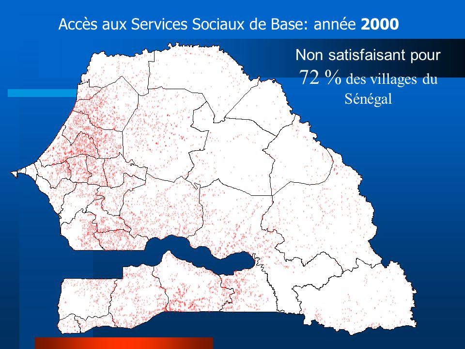 Non satisfaisant pour 72 % des villages du Sénégal Accès aux Services Sociaux de Base: année 2000