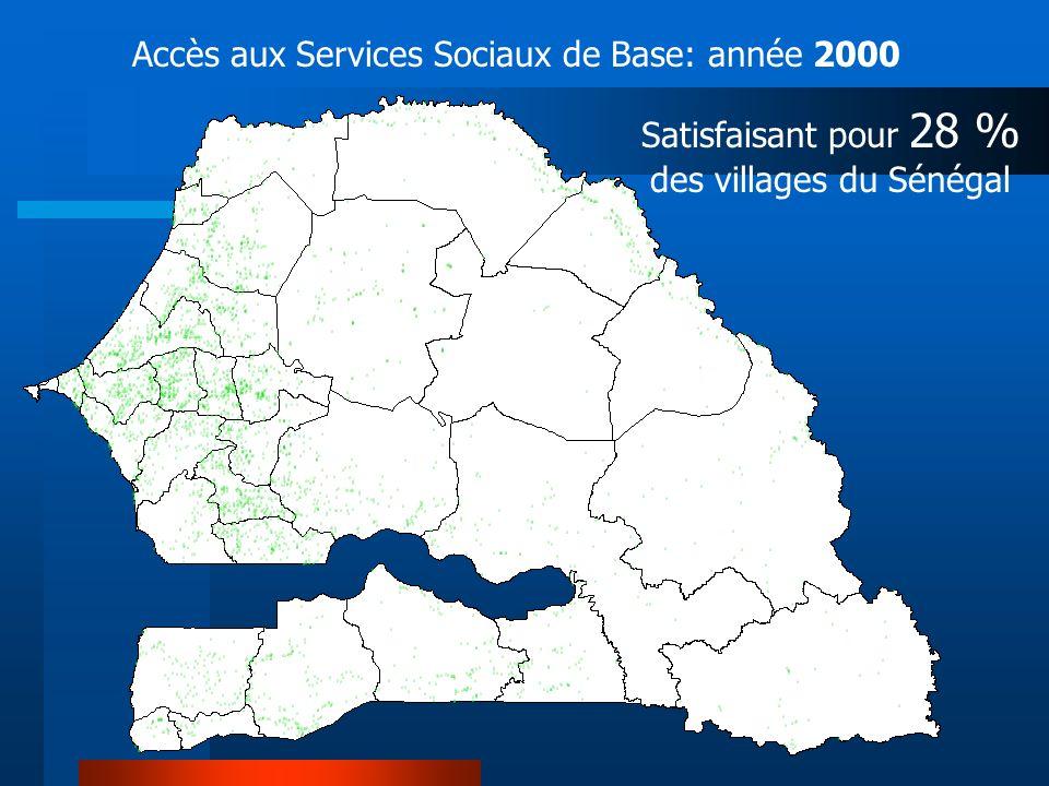 Satisfaisant pour 28 % des villages du Sénégal Accès aux Services Sociaux de Base: année 2000