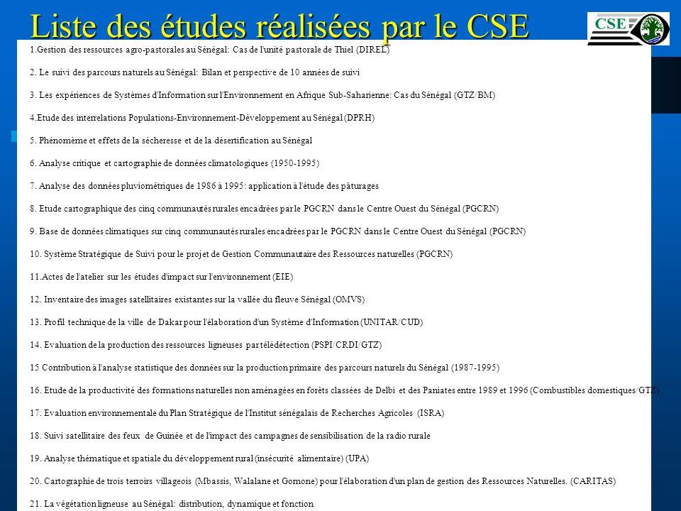 Liste des études réalisées par le CSE Centre Suivi Ecologique 1.Gestion des ressources agro-pastorales au Sénégal: Cas de l'unité pastorale de Thiel (