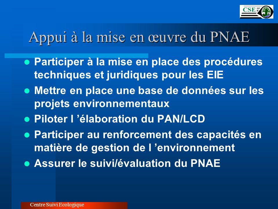 Centre Suivi Ecologique Appui à la mise en œuvre du PNAE Participer à la mise en place des procédures techniques et juridiques pour les EIE Mettre en