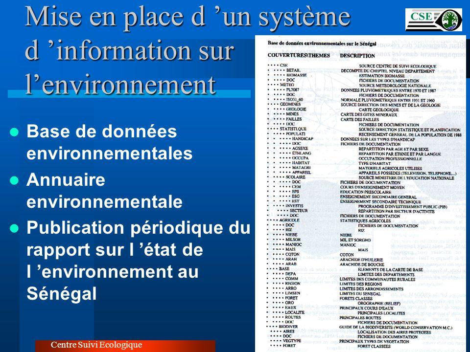 Mise en place d un système d information sur lenvironnement Centre Suivi Ecologique Base de données environnementales Annuaire environnementale Public
