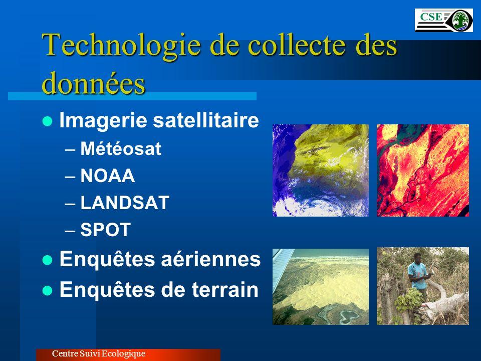 Technologie de collecte des données Imagerie satellitaire –Météosat –NOAA –LANDSAT –SPOT Enquêtes aériennes Enquêtes de terrain Centre Suivi Ecologiqu