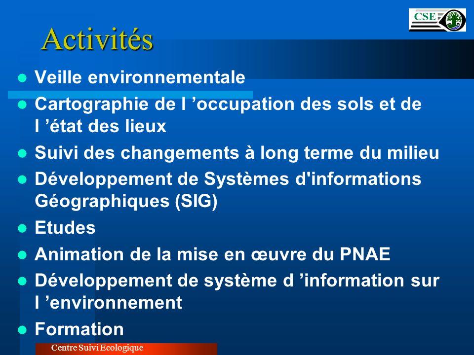 Centre Suivi Ecologique Appui à la mise en œuvre du PNAE Participer à la mise en place des procédures techniques et juridiques pour les EIE Mettre en place une base de données sur les projets environnementaux Piloter l élaboration du PAN/LCD Participer au renforcement des capacités en matière de gestion de l environnement Assurer le suivi/évaluation du PNAE