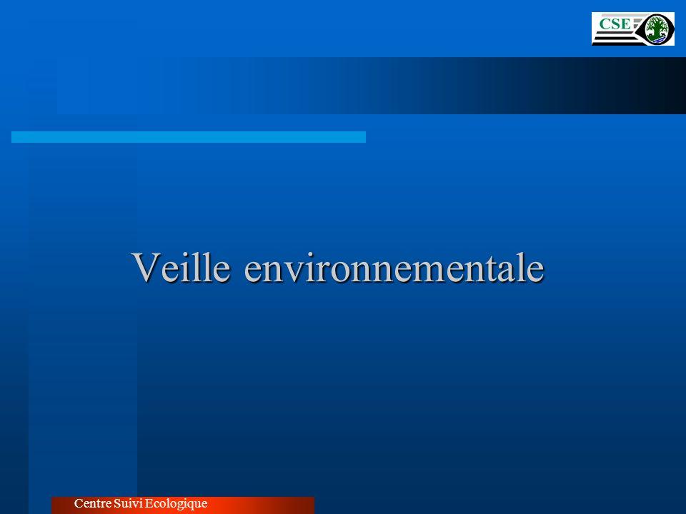 Mise en place d un système d information sur lenvironnement Centre Suivi Ecologique Base de données environnementales Annuaire environnementale Publication périodique du rapport sur l état de l environnement au Sénégal