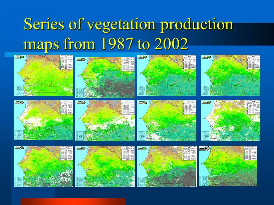 Appui à la sécurité alimentaire Suivi de la pluviométrie Suivi de la croissance végétale Prévision des rendements Suivi des zones à risque Centre Suivi Ecologique