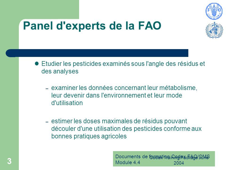 Documents de formation Codex FAO/OMS Module 4.4 Codex Training Package June 2004 3 Panel d'experts de la FAO Etudier les pesticides examinés sous l'an