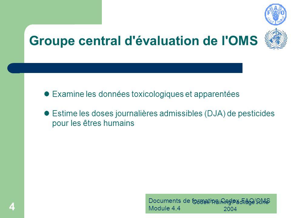 Documents de formation Codex FAO/OMS Module 4.4 Codex Training Package June 2004 4 Groupe central d'évaluation de l'OMS Examine les données toxicologi