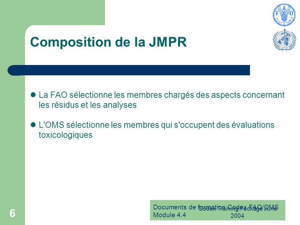 Documents de formation Codex FAO/OMS Module 4.4 Codex Training Package June 2004 6 Composition de la JMPR La FAO sélectionne les membres chargés des a