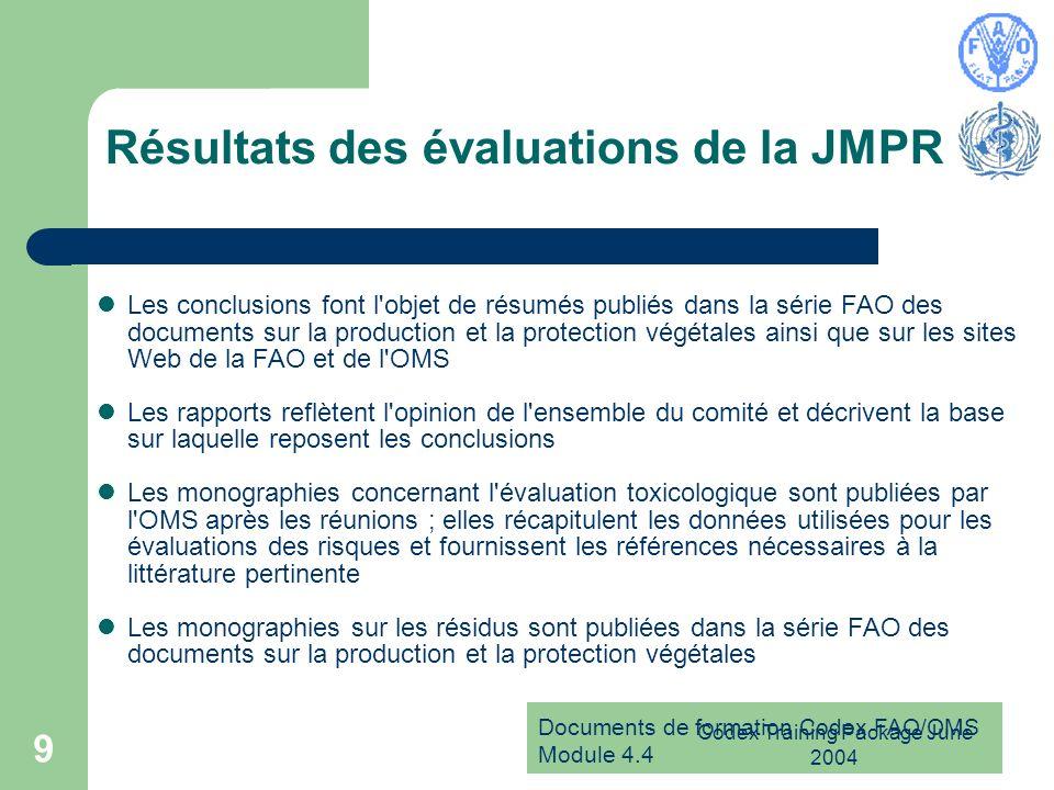 Documents de formation Codex FAO/OMS Module 4.4 Codex Training Package June 2004 9 Résultats des évaluations de la JMPR Les conclusions font l'objet d