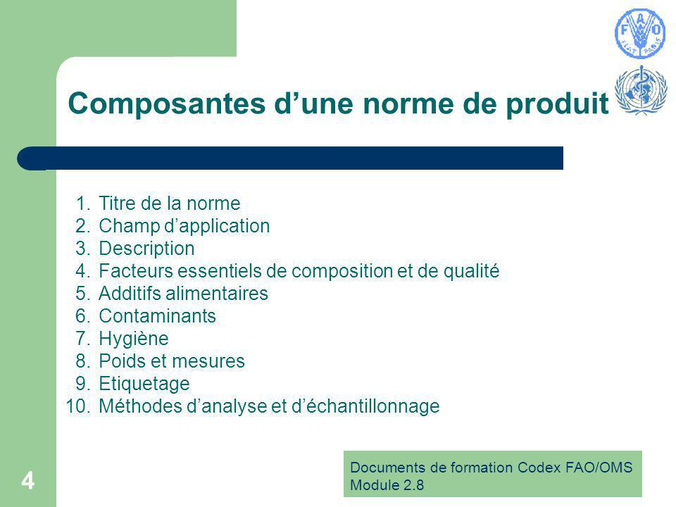 Documents de formation Codex FAO/OMS Module 2.8 4 Composantes dune norme de produit 1.Titre de la norme 2.Champ dapplication 3.Description 4.Facteurs