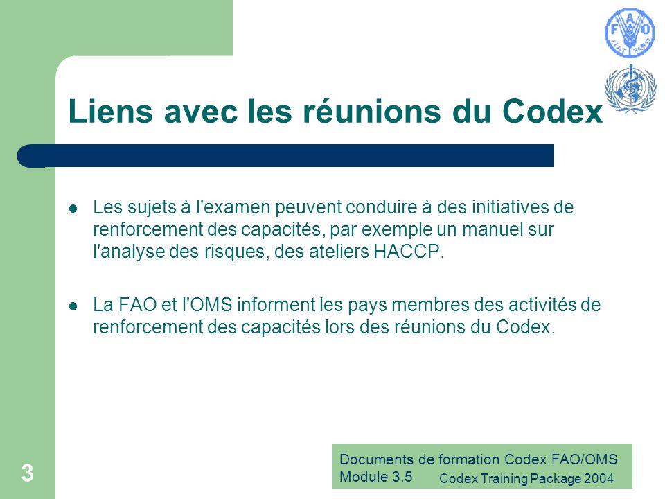 Documents de formation Codex FAO/OMS Module 3.5 Codex Training Package 2004 3 Liens avec les réunions du Codex Les sujets à l'examen peuvent conduire
