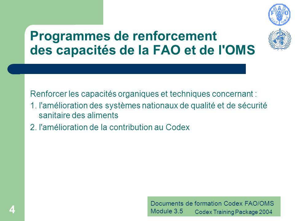 Documents de formation Codex FAO/OMS Module 3.5 Codex Training Package 2004 4 Programmes de renforcement des capacités de la FAO et de l'OMS Renforcer