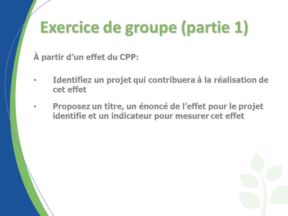 Exercice de groupe (partie 1) À partir dun effet du CPP: Identifiez un projet qui contribuera à la réalisation de cet effet Proposez un titre, un énoncé de leffet pour le projet identifie et un indicateur pour mesurer cet effet