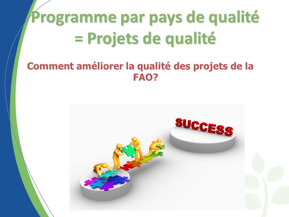 Programme par pays de qualité = Projets de qualité Comment améliorer la qualité des projets de la FAO