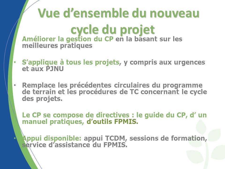 Vue densemble du nouveau cycle du projet Améliorer la gestion du CP en la basant sur les meilleures pratiques Sapplique à tous les projets, y compris aux urgences et aux PJNU Remplace les précédentes circulaires du programme de terrain et les procédures de TC concernant le cycle des projets.