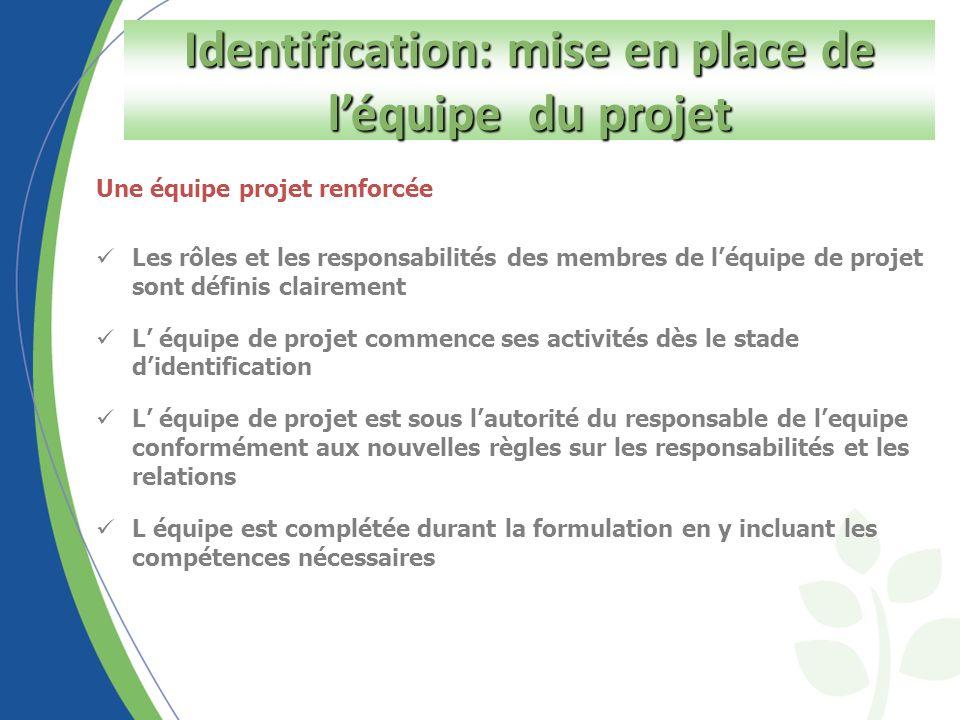 Composition de lEquipe du Projet: valable pour tous les projets y compris les projets d urgence.
