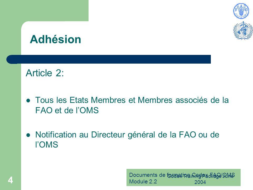 Documents de formation Codex FAO/OMS Module 2.2 Codex Training Package June 2004 5 Observateurs Articles 3-4: Etats Membres de la FAO ou de lOMS, qui ne sont pas membre du Codex Autres Etats Membres des Nations Unies Pas de droit de vote, statut dobservateur uniquement
