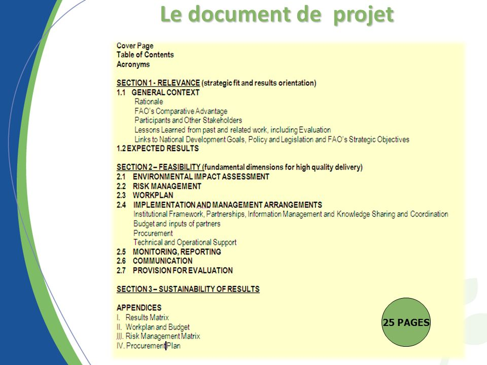 Le document de projet 25 PAGES