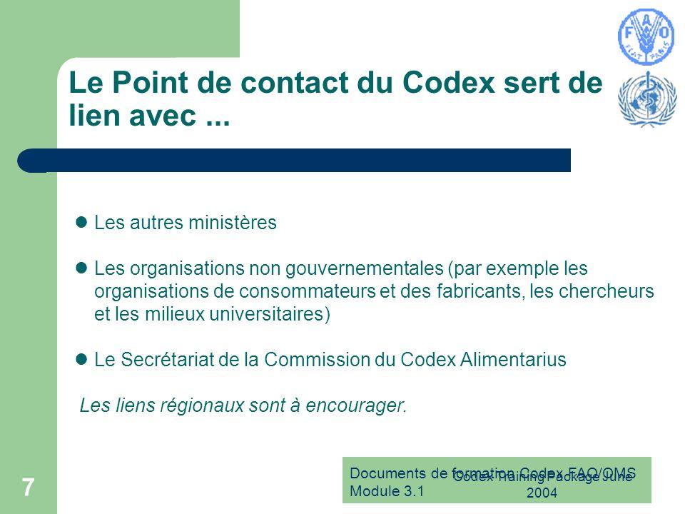 Documents de formation Codex FAO/OMS Module 3.1 Codex Training Package June 2004 8 Le Point de contact du Codex joue un rôle essentiel en matière de communication et de coordination aux niveaux national, régional et international.