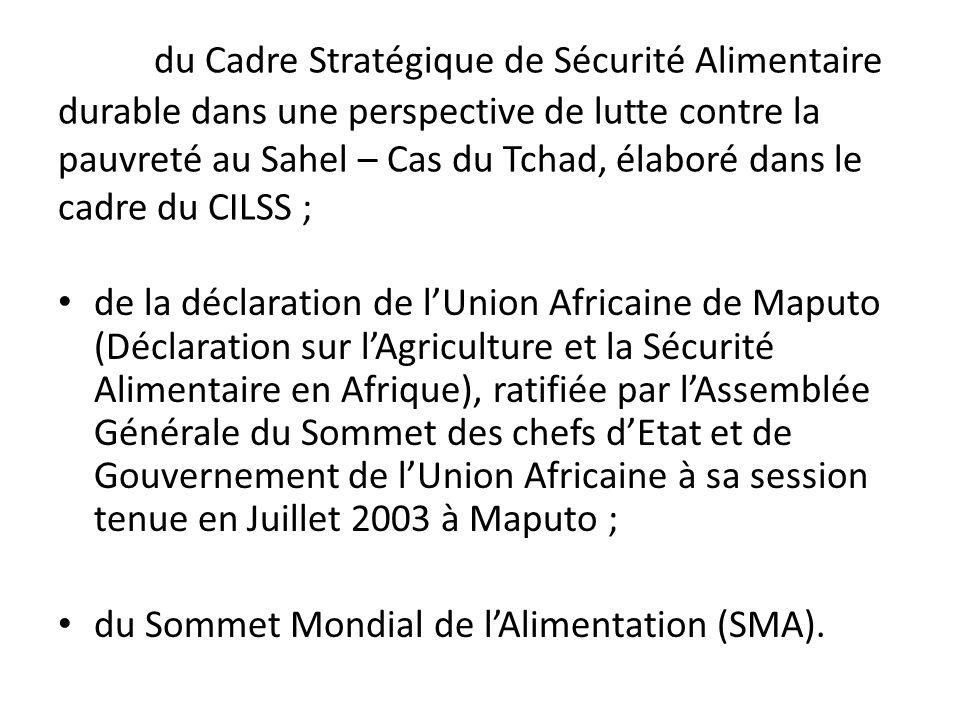 du Cadre Stratégique de Sécurité Alimentaire durable dans une perspective de lutte contre la pauvreté au Sahel – Cas du Tchad, élaboré dans le cadre d