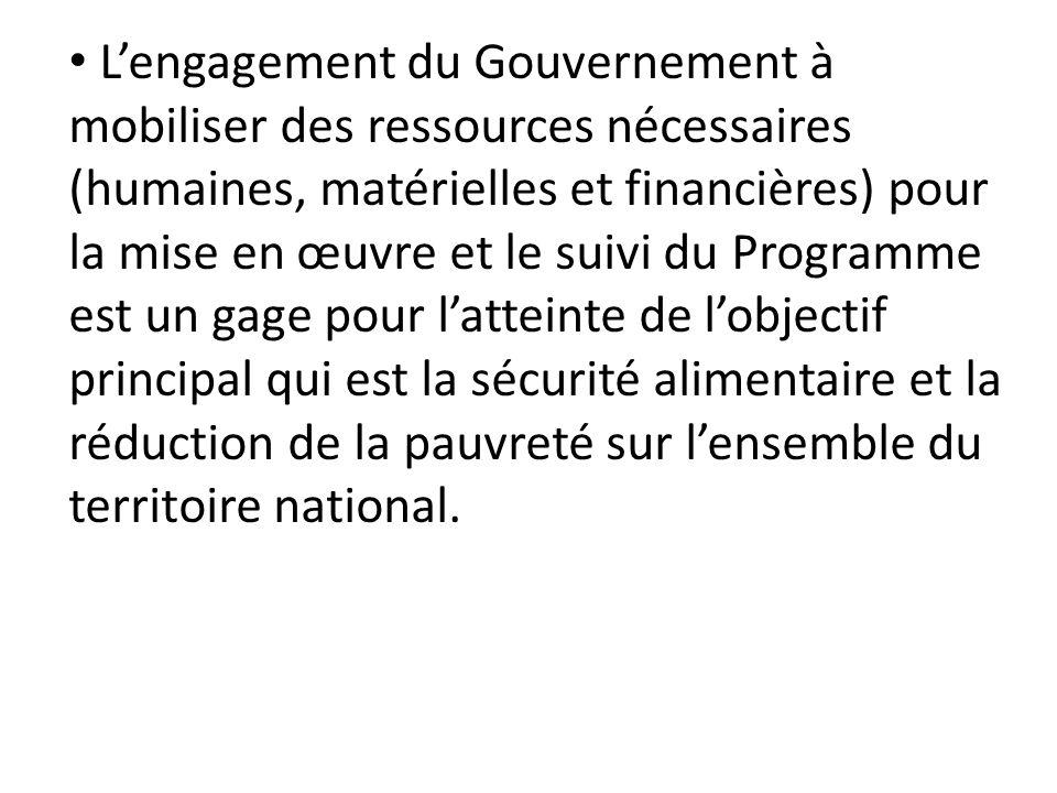 Lengagement du Gouvernement à mobiliser des ressources nécessaires (humaines, matérielles et financières) pour la mise en œuvre et le suivi du Program