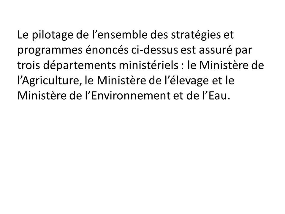 Le pilotage de lensemble des stratégies et programmes énoncés ci-dessus est assuré par trois départements ministériels : le Ministère de lAgriculture,