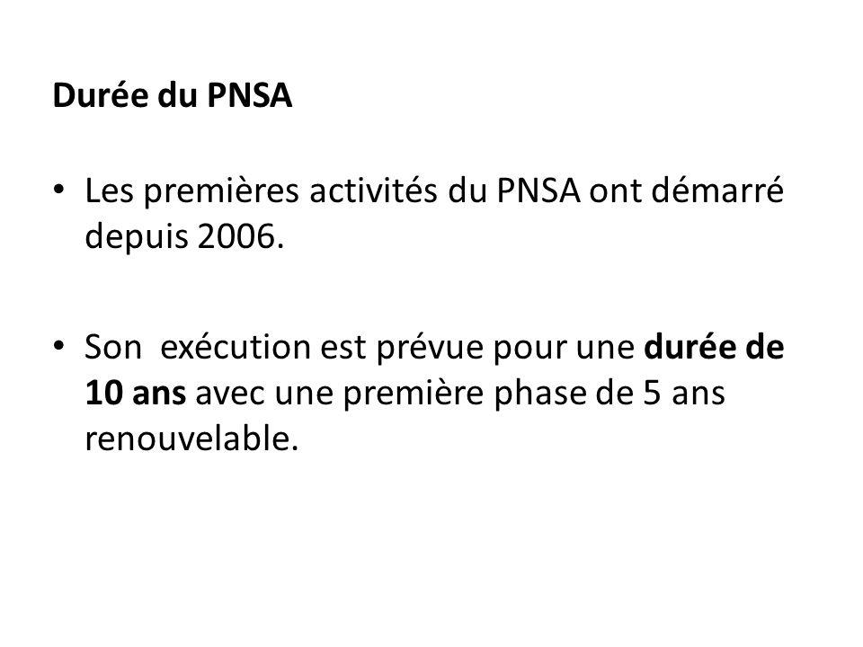 Durée du PNSA Les premières activités du PNSA ont démarré depuis 2006. Son exécution est prévue pour une durée de 10 ans avec une première phase de 5