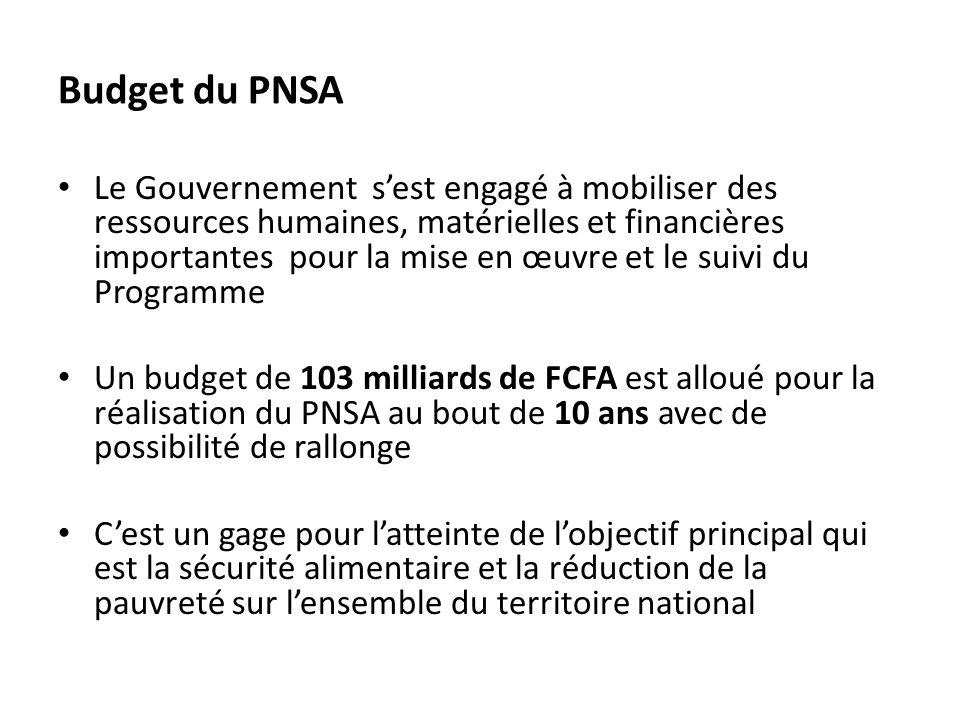 Budget du PNSA Le Gouvernement sest engagé à mobiliser des ressources humaines, matérielles et financières importantes pour la mise en œuvre et le sui