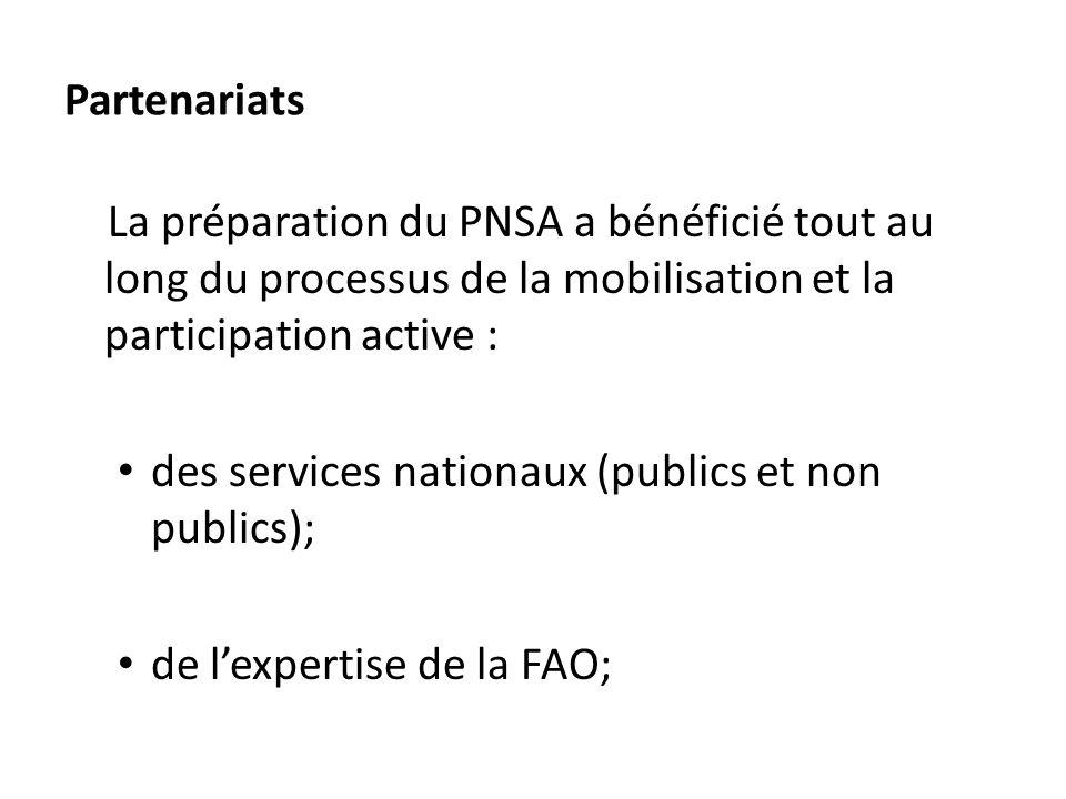 Partenariats La préparation du PNSA a bénéficié tout au long du processus de la mobilisation et la participation active : des services nationaux (publ