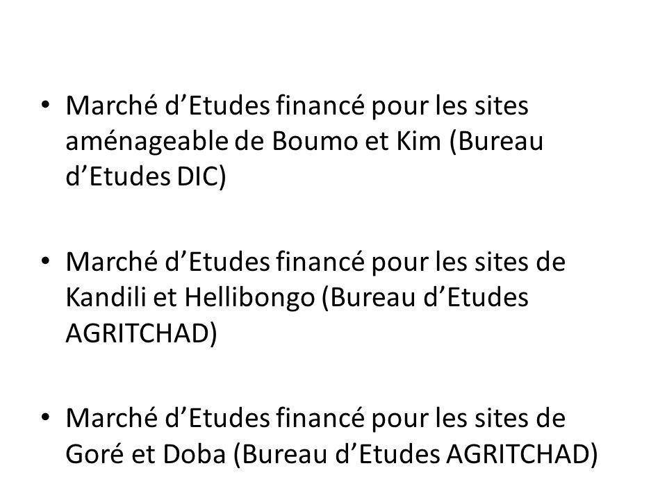 Marché dEtudes financé pour les sites aménageable de Boumo et Kim (Bureau dEtudes DIC) Marché dEtudes financé pour les sites de Kandili et Hellibongo