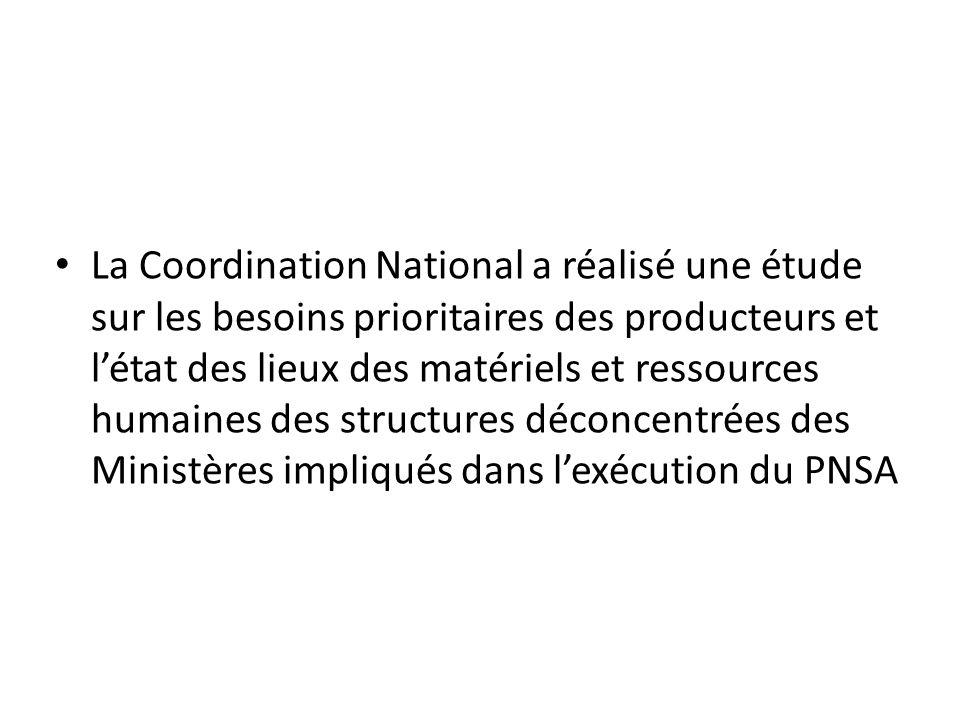 La Coordination National a réalisé une étude sur les besoins prioritaires des producteurs et létat des lieux des matériels et ressources humaines des