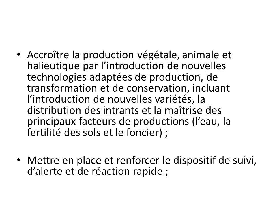 Accroître la production végétale, animale et halieutique par lintroduction de nouvelles technologies adaptées de production, de transformation et de c