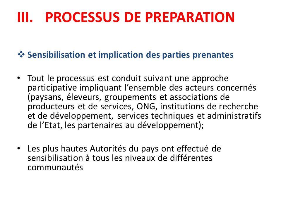 III.PROCESSUS DE PREPARATION Sensibilisation et implication des parties prenantes Tout le processus est conduit suivant une approche participative imp