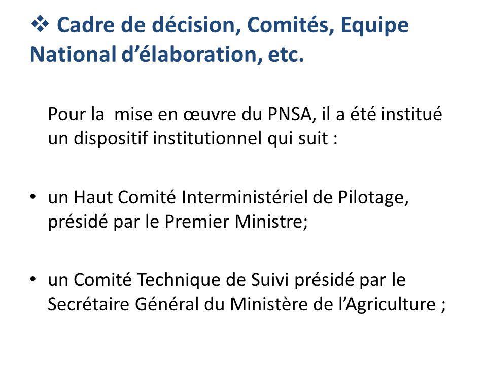 Cadre de décision, Comités, Equipe National délaboration, etc. Pour la mise en œuvre du PNSA, il a été institué un dispositif institutionnel qui suit