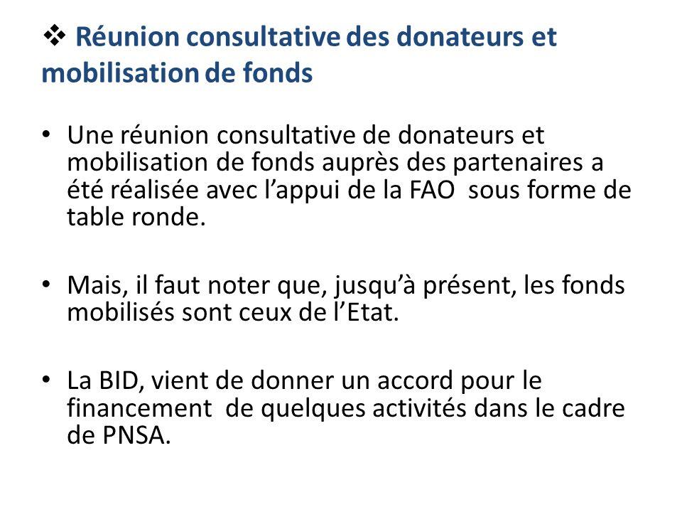 Réunion consultative des donateurs et mobilisation de fonds Une réunion consultative de donateurs et mobilisation de fonds auprès des partenaires a ét