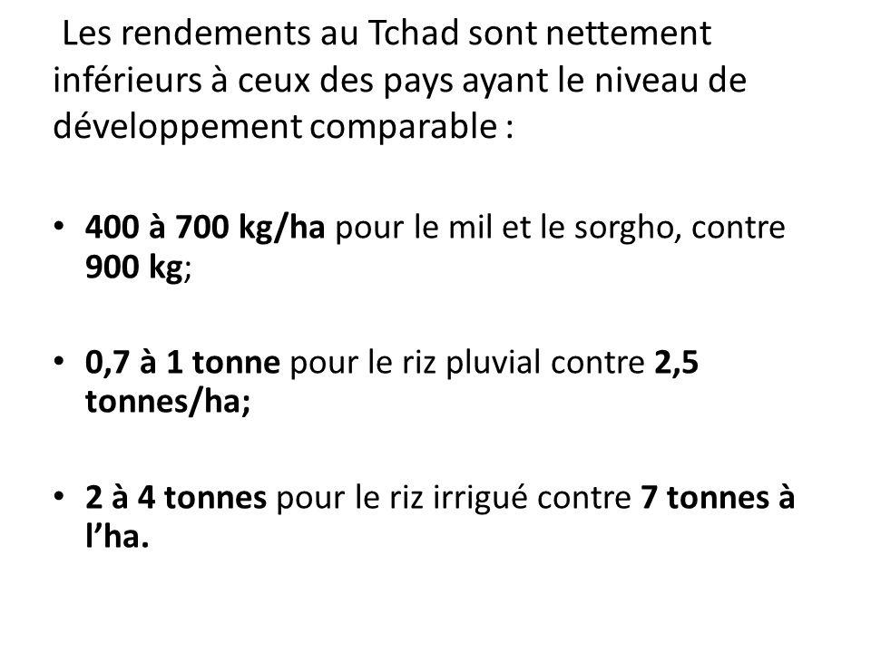 Les rendements au Tchad sont nettement inférieurs à ceux des pays ayant le niveau de développement comparable : 400 à 700 kg/ha pour le mil et le sorg