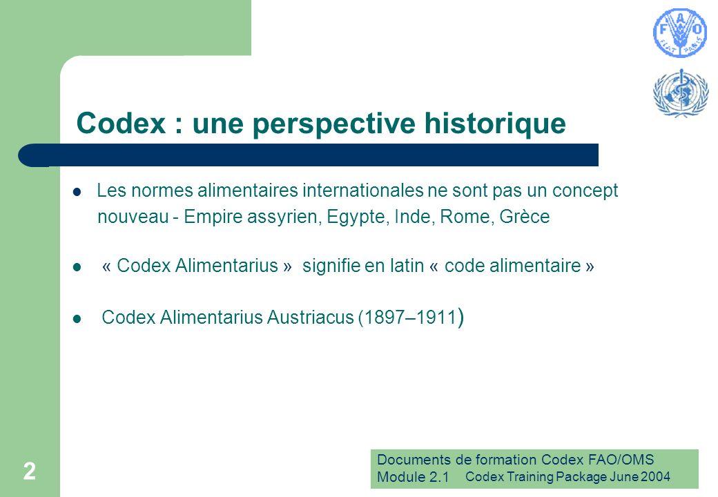 Documents de formation Codex FAO/OMS Module 2.1 Codex Training Package June 2004 3 Les origines du Codex Organisation des Nations Unies pour lAlimentation et lAgriculture (FAO) Organisation mondiale de la Santé (OMS) Codex Alimentarius Europaeus (1954-58)