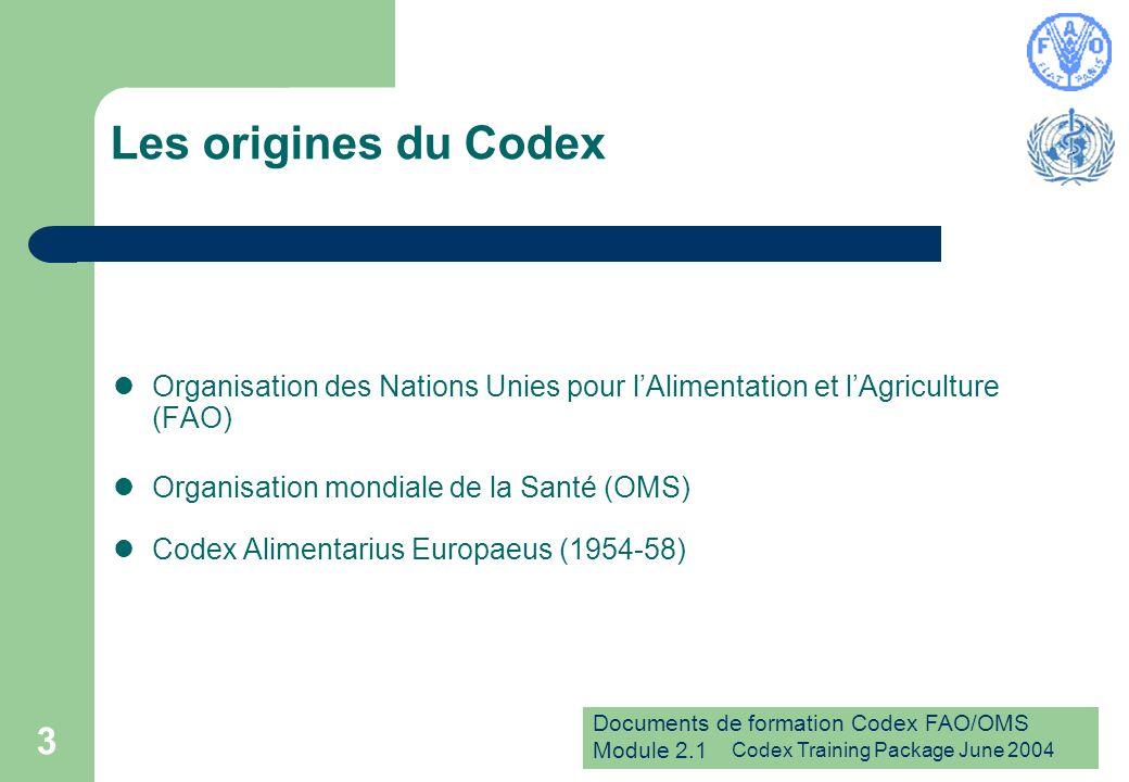 Documents de formation Codex FAO/OMS Module 2.1 Codex Training Package June 2004 4 Création du Codex Commission du Codex Alimentarius (1963 à ce jour) Composition (172 Membres en mars 2005) Deux organisations mères - la FAO et l OMS Réunions à tour de rôle à Rome et à Genève